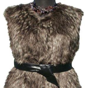 Gray White Black Fox Faux Fur Removable Lthr Belt